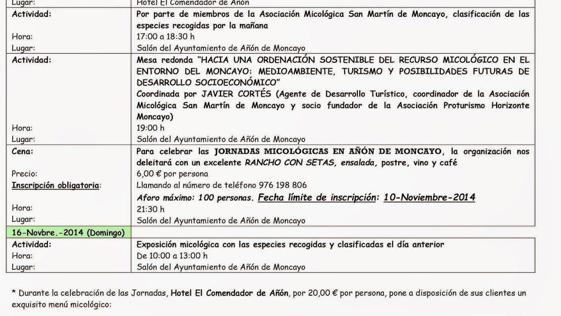 Jornadas micológicas (15 y 16 de noviembre)