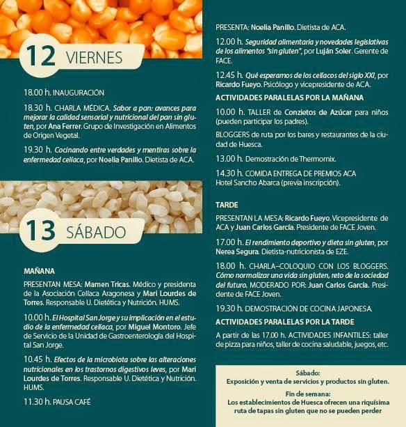 Jornadas celiacas (viernes y sábado, 12 y 13)
