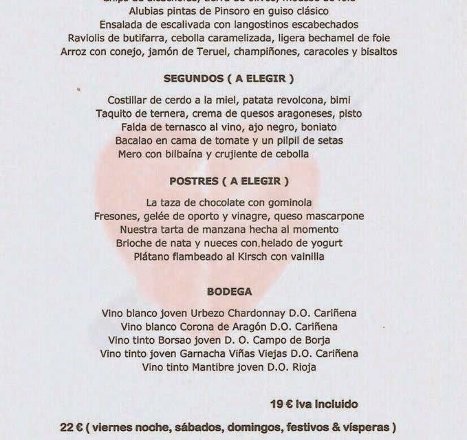 Menú de febrero en el Idílico Restaurante (febrero)
