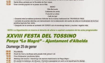 Festa del tossino (domingo, 25)