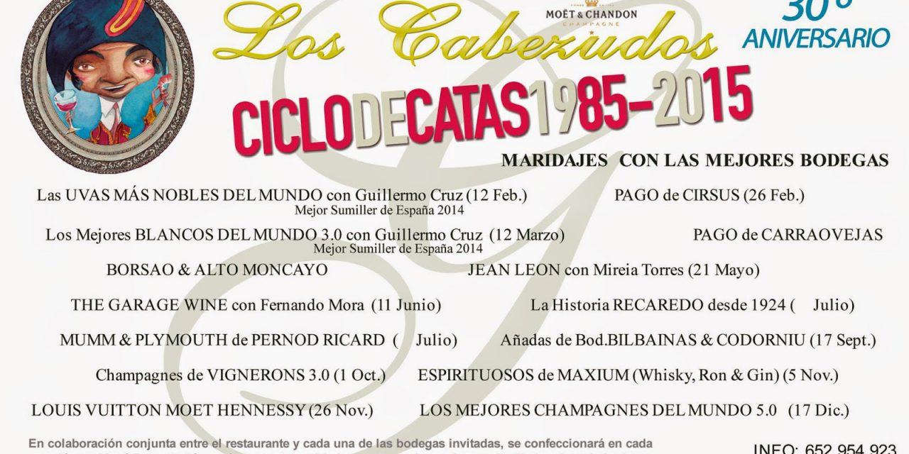 Cena cata maridaje Las uvas más nobles del mundo en Los Cabezudos (jueves, 12)