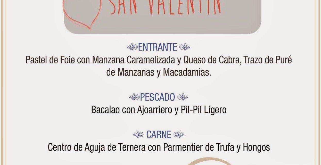 Menú de san Valentín en el Molino de san Lázaro (sábado, 14)
