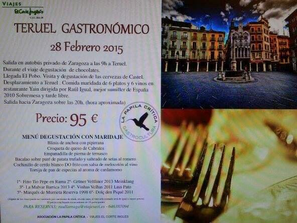 Excursión gastronómica a Teruel (sábado, 28)
