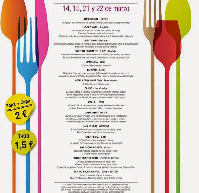Muestra de vino y tapas Campo de Belchite (días 14 y 15, 21 y 22)