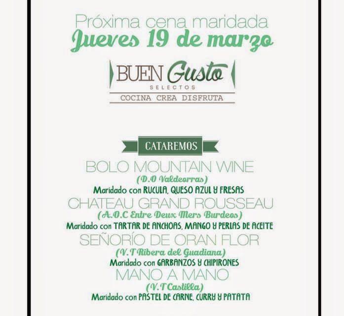 Cena maridada en Buen Gusto (jueves, 19)