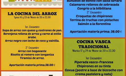 Encuentros gastronómicos La cocina del arroz (lunes, 16 y 23)