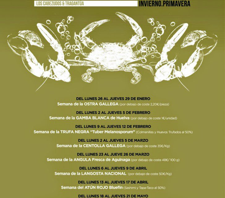 Gourmet Days en Tragantúa y Cabezudos con centolla gallega (del 23 al 26)