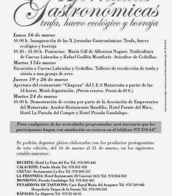 X Jornadas Gastronómicas Matarraña (del 16 al 31 de marzo)