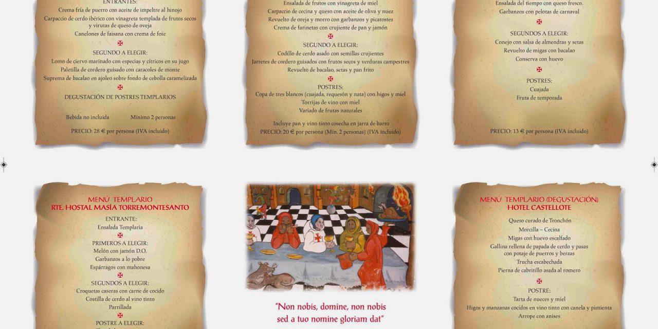 Menús templarios (del 1 abril al 31 de julio)