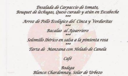 Menú de san Jorge en Idílico Restaurante (del 23 al 26)