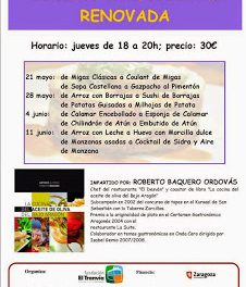 Curso de cocina tradicional renovada (jueves, 21 y 28 de mayo, 4 y 11 de junio)