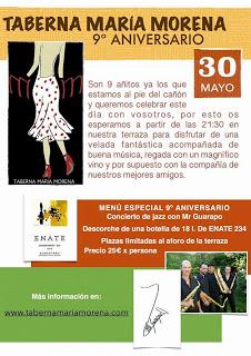 Cena 9 aniversario en MARÍA MORENA (sábado, 30)