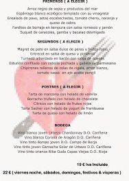 Menú de mayo en el Idílico Restaurante (mayo)
