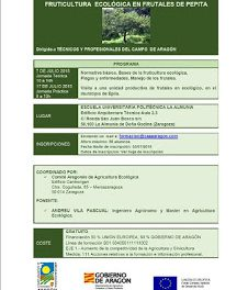 LA ALMUNIA DE DOÑA GODINA. Curso sobre Fruticultura Ecológica en frutales de pepita (martes, 7 de julio)
