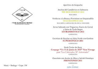 Cata cena maridada en Los Cabezudos The Garage Wines (jueves, 11)
