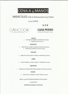 Cena a cuatro manos, Cancook en Casa Pedro (miércoles, 22)