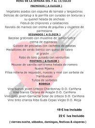 Menú semanal en el Idílico Restaurante, por 19/22 euros (del 7 al 12 de julio)