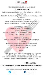 Menú semanal en el Idílico Restaurante, por 19/22 euros (del 14 al 19 de julio)