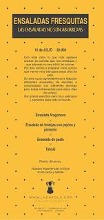 Curso de cocina fresquita, Ensaladas de verano (miércoles, 15)