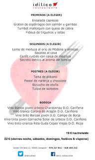 Menú semanal en el Idílico Restaurante, por 19/22 euros (del 18 al 23)