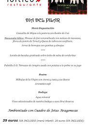 Menú del día del Pilar en IDÍLICO (lunes, 12)