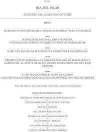 Menú del Pilar en ARAGONIA PALAFOX (lunes, 12)