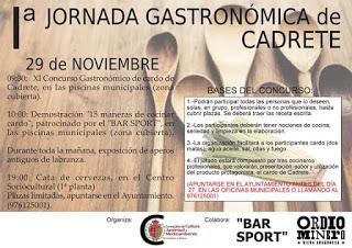 CADRETE. Jornada gastronómica del cardo (domingo, 29)