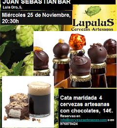 Maridaje cervezas artesanas y chocolates en Juan Sebastián Bar (miércoles, 25)