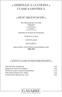 Homenaje a la cocina clásica española en GAYARRE (desde el martes, 17).