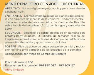 Cena foro con José Luis Cuerda (viernes, 28)