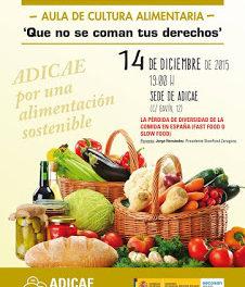 Charla sobre Alimentación sostenible (lunes, 14)