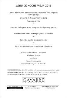 Menú de Nochevieja, Año nuevo y Reyes en Gayarre (días 31, 1 y 6 de enero)