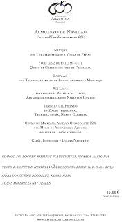 Menú del Nochebuena y Navidad en ARAGONIA PALAFOX (jueves y viernes, 24 y 25)