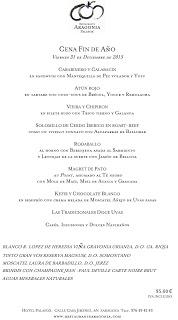 Menú del Nochevieja y Año nuevo en ARAGONIA PALAFOX (jueves y viernes, 31 y 1)