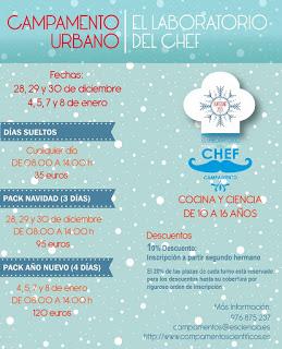 Laboratorio del chef (el 28 al 30 de diciembre y del 4 al 8 de enero)