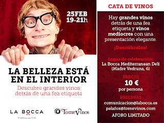 Cata de vinos La belleza está en el interior en LA BOCCA (jueves, 25)