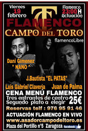 Cena menú flamenco (viernes, 19)