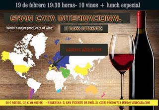 Cata de vinos de diez países y lunch (viernes, 19)