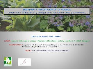 Seminario y degustación de borraja (días 18 y 19 de marzo)
