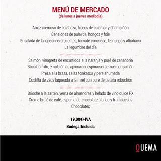 Menú de mercado en el Quema (marzo)