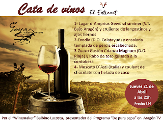 Cata maridada de vinos (jueves, 21)