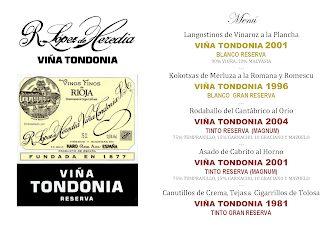 Cata cena maridaje Viña Tondonia en LOS CABEZUDOS (jueves, 21)
