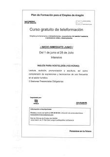 Cursos Horeca en inglés para hostelería (del 1 al 28 de junio)