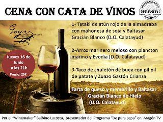 Cena con cata de vinos (jueves, 16)