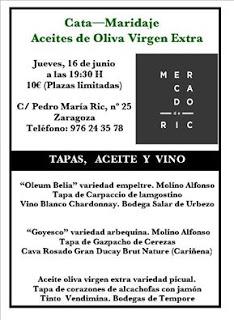 Cata maridada de aceites de oliva en el MERCADO DE RIC (jueves, 16)