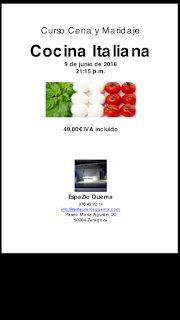 Curso cena y maridaje, cocina italiana (jueves, 9)