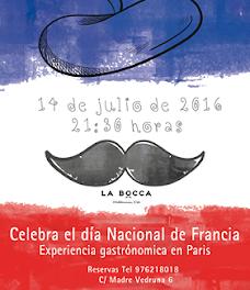 Cena homenaje a Francia en LA BOCCA (jueves, 14)