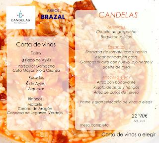 Menú de arroz en EL CANDELAS (hasta el mes de octubre)