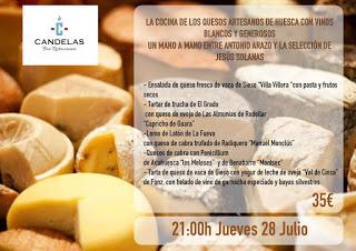 Cena maridada con quesos oscenses en EL CANDELAS (jueves, 28)