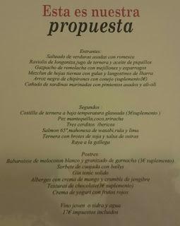 Nuevo menú en UROLA, por 17 euros (julio)